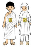Muslim pilgrim boy and girl on white background Stock Image