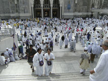 Muslim pilgrims at Al Haram Mosque entrance Stock Images