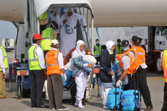Muslim pilgrims arrived in Indonesia after finished the annual haj Stock Image
