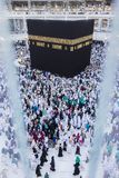 Muslim pilgrims circumambulate the Kaabah in Makkah, Saudi Arabia. Top view of Muslim pilgrims circumambulate the Kaabah in Makkah, Saudi Arabia Stock Image