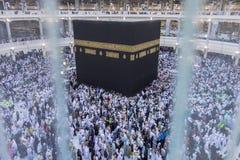Muslim pilgrims circumambulate the Kaabah in Makkah, Saudi Arabia. Top view of Muslim pilgrims circumambulate the Kaabah in Makkah, Saudi Arabia Stock Images