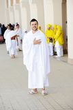 Muslim pilgrims at Miqat. Muslim wearing ihram clothes and ready for Hajj royalty free stock images