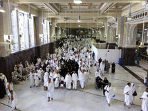 Muslim pilgrims perform saei' (brisk walking) Royalty Free Stock Photography