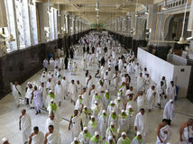 Muslim pilgrims perform saei' (brisk walking) Royalty Free Stock Image