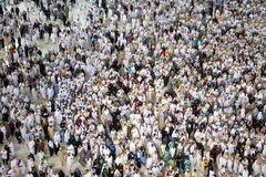 Muslim pilgrims touring the holy Kaaba in Mecca in Saudi Arabia royalty free stock images