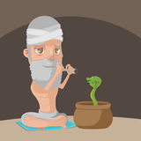 Muslim Play Flute Snake Pot Vector Royalty Free Stock Image