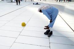 Muslim prayer alone. MECCA, SAUDI ARABIA - FAB 5: Praying outside kaaba, Muslim workers on Fabruary 5, 2015 in Mecca, Saudi Arabia. Muslims all around the world Royalty Free Stock Image