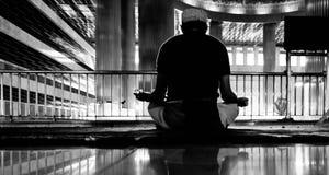Muslim prayer. In a mosque, black white Stock Image