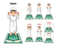 Muslim Prayer Position Guide Step by Step Perform by Boy Standing and Raising The Hands with Wrong Position. Vector Illustration Royalty Free Stock Photos