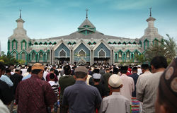 Muslim prayers. Muslim pray at idul fitri or Eid al-Adha, Muslim holiday that marks the end of Ramadan. Located at indonesia south east asia Royalty Free Stock Photography