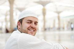 Muslim praying at Medina mosque Royalty Free Stock Images