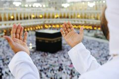Muslim praying at Mekkah with hands up Stock Image