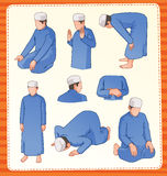 Muslim praying postion. Set illustration of muslim praying position royalty free illustration