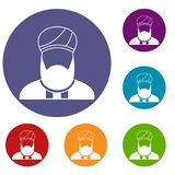 Muslim preacher icons set Royalty Free Stock Images