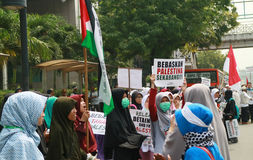 Muslim Protesters. JAKARTA, INDONESIA - MAY 18, 2017: Indonesian Muslims from Aqsa Working group staged rallies in front of the US embassy at Menara Thamrin Royalty Free Stock Photos