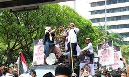 Muslim Protesters. JAKARTA, INDONESIA - November 4, 2016: More than 200,000 Muslim protesters has descended on Jakarta to demand the governor of Jakarta, Basuki Royalty Free Stock Photography