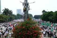Muslim Protesters. JAKARTA, INDONESIA - November 4, 2016: More than 200,000 Muslim protesters has descended on Jakarta to demand the governor of Jakarta, Basuki Royalty Free Stock Image