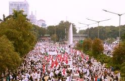 Muslim Protesters. JAKARTA, INDONESIA - November 4, 2016: More than 200,000 Muslim protesters has descended on Jakarta to demand the governor of Jakarta, Basuki Royalty Free Stock Photo