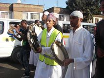Muslim Qasida Nasheed group. Muslims Qasida or Nasheed group perform a procession to mark Milad un Nabbi celebrations in Africa Nairobi Kenya to mark the birth Royalty Free Stock Photo
