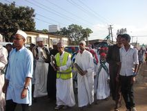 Muslim Qasida or Nasheed. Muslims march in Nairobi Kenya on the occasion of Milad un Nabi commemorated every year accompanied by Qasida group Stock Images