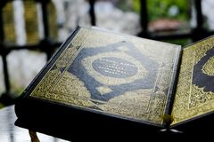 Muslim Quran book on a stand royalty free stock photo