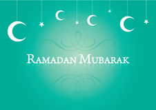 Muslim Ramadan background hanging moon and stars. Stock Photo