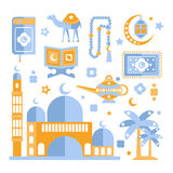 Muslim Religious Holiday Symbols Set Stock Photo