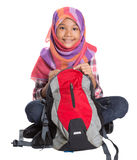 Muslim School Girl With School Bag VIII Royalty Free Stock Photo