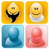 Muslim Smileys. Muslim man and woman smileys and silhouettes Stock Illustration
