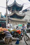 Muslim Street in Xian. The main food street area is known as Huimin Street or Muslim Quarter. stock photos