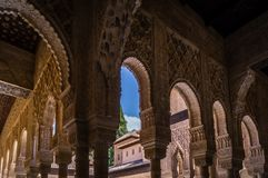 Muslim stucco on the walls, ceilings and arches of the Alhambra of Granada. In Spain Stock Image