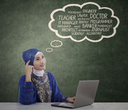 Muslim student is thinking her ideals Stock Photography