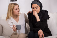 Muslim suffering from prejudices Stock Images
