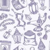 Muslim Symbols - hand drawn seamless pattern Royalty Free Stock Photography