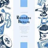 Muslim Symbols - vector hand drawn banner. Stock Photo