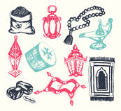 Muslim Symbols - vector hand drawn illustration Stock Photos