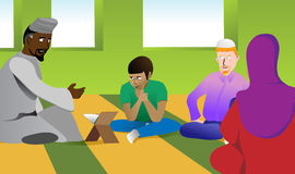 Muslim Teacher in a Mosque. A Muslim teacher explains religious topics to a diverse group of students at a mosque. EPS version layers include variation of the Stock Image