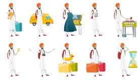 Muslim traveler vector illustrations set. Royalty Free Stock Photography