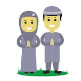 Muslim Vector Illustration. Muslim male and female illustration Royalty Free Stock Photography