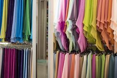 Muslim veils on a rack stock image
