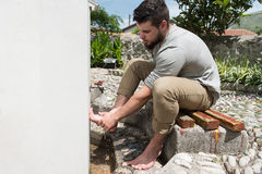 Muslim Washing Feet Before Entering Mosque Royalty Free Stock Photo