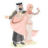 Muslim wedding, bride and groom. Romantic couple in elegant style vector illustration
