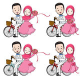 Muslim wedding cartoon, bride and groom riding bicycle with flow. Muslim wedding cartoon, groom riding bicycle, bride holding flower bouquet with happy face on