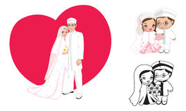 Muslim wedding cartoon. Romance dress face couple gown bride marriage muslim royalty free illustration