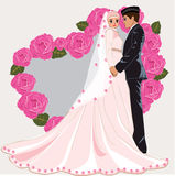 Muslim wedding cartoon. Romance dress face couple gown bride marriage muslim stock illustration