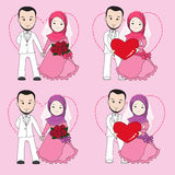Muslim wedding couple. Bride and groom holding each other's hand with happy face stock illustration