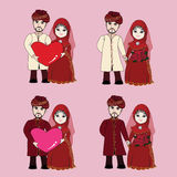 Muslim wedding couple cartoon Stock Photo