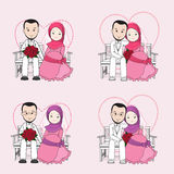 Muslim wedding couple vector cartoon, bride and groom sitting on a chair. With happy face, groom hugging bride royalty free illustration