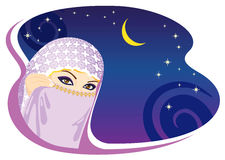 Muslim woman and arabian night. Royalty Free Stock Images