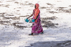 Muslim Woman on the beach stock photo